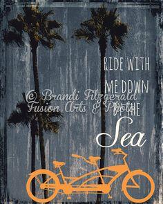 Orange Tandem Bike. Ride Bicycle Palms Beach by BrandiFitzgerald, $19.99