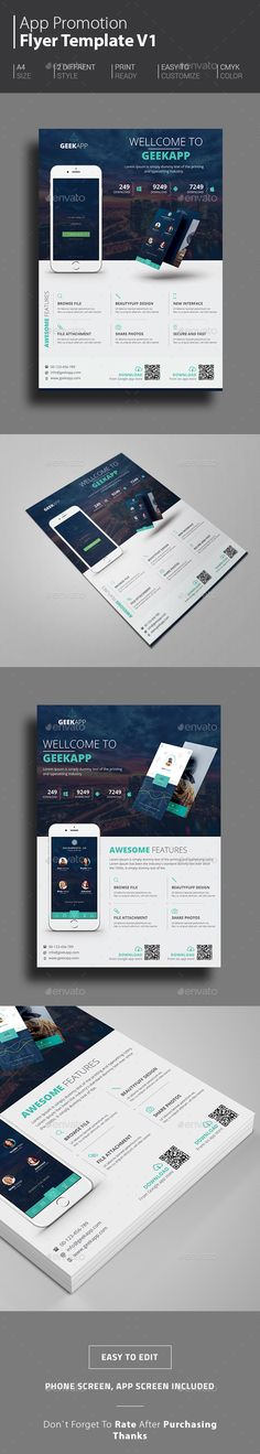App Flyers Template PSD #design Download: http://graphicriver.net/item/app-flyers/14467216?ref=ksioks