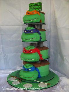 Ninja Turtle Face-Cake Tower