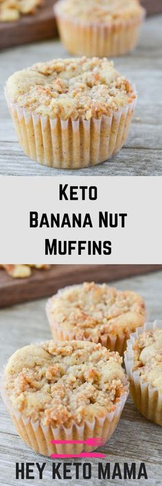 Tired of eggs for keto breakfast? These Keto Banana Nut Muffins are so simple and delicious, your kids will love helping you make them on the weekends just as much as they'll love helping you eat them! | heyketomama.com via @heyketomama