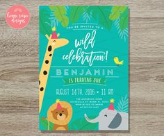I love everything about this invitation, the graphic style, colors, and party decorations. Really would like to have a similar invite. A must is having foliage in the design.