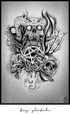 tattoo, skull, sketch