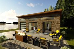 With its modern style and open floor plan, makes a perfect lake house or beach getaway. The exterior is inviting with stone accents and numerous windows to provide plenty of natural light. Inside you'll find a large living room that opens up to a full kit Lake House Plans, Best House Plans, Modern House Plans, Small House Plans, House Floor Plans, Modern Style Homes, Modern Tiny House, Tiny House Design, Modern Houses