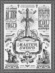 Legend of Zelda the Master Sword Vintage Art by Barrett Biggers