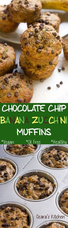 """Chocolate Chip Banana Zucchini Muffins - Previous pinner: """"my favorite banana bread EVER! They are SO incredibly moist, sweet and soft from the finely shredded zucchini + sweet banana! Banana Zucchini Muffins, Vegan Muffins, Healthy Muffins, Banana Bread, Zucchini Bread, Vegan Sweets, Vegan Desserts, Whole Food Recipes, Cooking Recipes"""