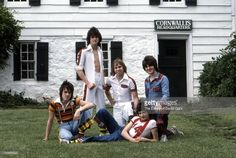 Pop group The Bay City Rollers (L-R Stuart 'Woody' Wood, Les McKeown, Derek Longmuir, Ian Mitchell, Eric Faulkner) pose for a portrait in June 1976 in Connecticut.