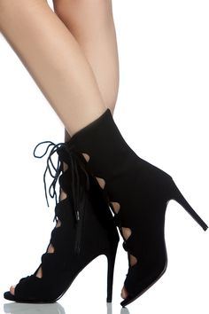 c592fdb5420 Black Faux Suede Lace Up Single Sole Booties   Cicihot Heel Shoes online  store sales Stiletto Heel Shoes