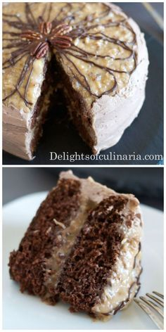 Best German Chocolate Cake Recipe - Delights Of Culinaria Best Chocolate Cake, German Chocolate, Chocolate Cream, Food Cakes, Cupcake Cakes, Cupcakes, Just Desserts, Delicious Desserts, Cake Recipes