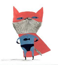Cat Superhero Illustration