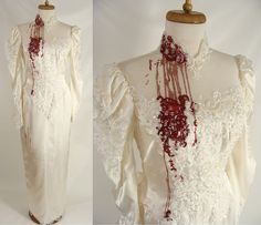 Bloody Vampire Bride Dress. Halloween Costume. upcycled