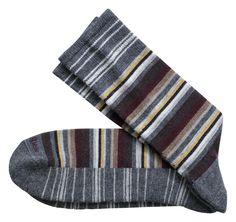 Wool-Blend Variegated Stripe Socks - Johnston & Murphy