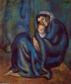 Woman embraceing a boy - by Pablo Picasso (1881-1973)