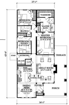 Craftsman Style House Plan - 3 Beds 2 Baths 1628 Sq/Ft Plan #137-267 Floor Plan; I like tucked in entry w/ covered porch