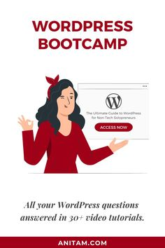Welcome to Wordpress Bootcamp - Otherwise Known as the First Day of No More Searching for WordPress Answers. #DIYwebsite #websitelaunch #wp101 #tutorial #WordPressBootcamp #OnlineCourse #WordPress #WebDesign #WordPress #WPBootcamp #LearnWithAnitaM #anitam.com Creative Business, Business Tips, Online Business, Exactly Like You, Twitter Tips, Business Entrepreneur, Instagram Tips, Social Media Tips, Online Courses