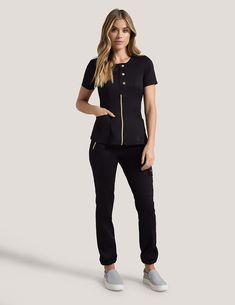 product scrubs Snap Front Top in Black - Medical Scrubs by Jaanuu Cute Scrubs Uniform, Spa Uniform, Scrubs Outfit, Stylish Scrubs, Black Scrubs, Medical Uniforms, Nursing Clothes, Medical Scrubs, Outfits