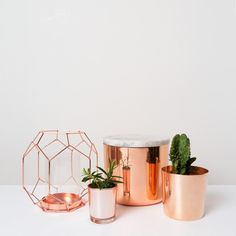Geometric Copper tealight holder
