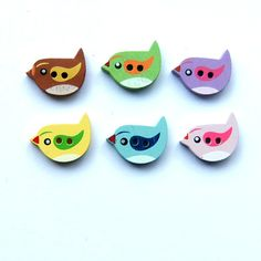 Little Birds Painted Wooden Buttons