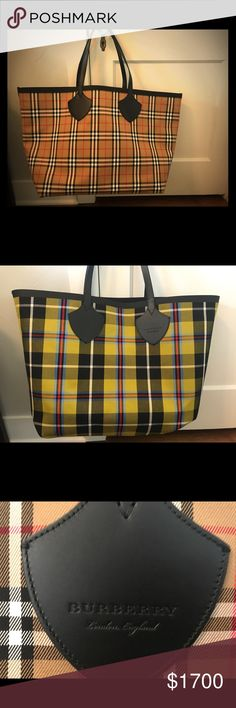 Giant Burberry reversible tote, vintage check This giant Burberry tote style is just making its way to the US. I purchased in London at the Burberry flag ship store two weeks ago. It's in mint condition and I haven't used it. I also have the dust bag for it.   This is an authentic Burberry product and I have the authenticity card to go along with the bag. Burberry Bags Totes