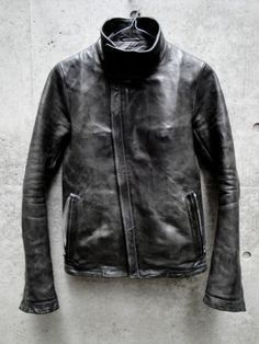 LINED HIGH NECK LEATHER JACKET / HORSE LEATHER