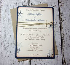 Navy Snowflake Winter Wedding Invitations by TorisCustomCreations