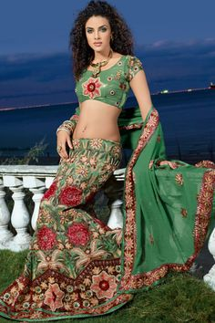 Green with Red Lehenga Choli by bridal choli collections - Latest Makeup Styles and Tips