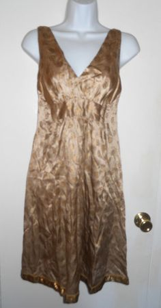 Erica Tanov Anthropologie gold champagne sleeveless silk dress sequin hem sz S #Anthropologie #TankCami