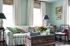 House of Turquoise: Gary McBournie -- Benjamin Moore Palladian Blue House Of Turquoise, Hardwood Floor Stain Colors, Living Room Designs, Living Spaces, Palladian Blue, Pantone, Wood Blinds, Blinds Diy, Bamboo Blinds