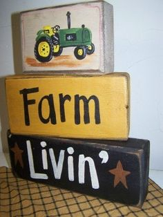Farm Living chunky wood block set green tractor sign. $24.99, via Etsy.