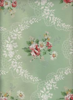 Click above to view full size graphic A gorgeous vintage floral wallpaper. The printed lace is so pretty on this!
