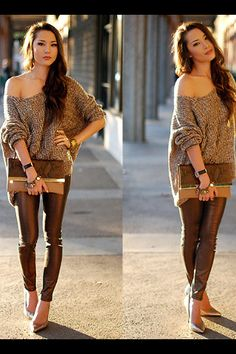 Metallic copper jeans, over sized knit sweater? Yes please!
