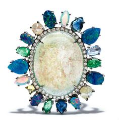 8.43-carat white opal ring with blue sapphires, orange diamonds, white diamonds and 18-karat white gold, Nina Runsdorf.