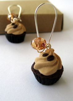 Polymer clay dangle earrings  chocolate mocha by PieceOfCakeHJ, €12.00