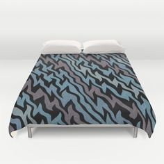Ice Blue Duvet Cover - $99.00.  Ultra soft, lightweight  microfiber duvet covers.  #duvetcover #duvet #bed #bedding #homedecor #roomdecor #dorm #iceblue #blue #silver #grey #stripes #zigzag #pattern