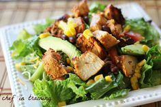 Chipotle Chicken Salad! The amazing flavors of Mexican food combined with the refreshing feel of a salad! It is perfect!