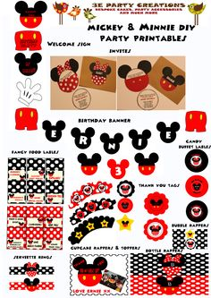 Mickey and Minnie Mouse DIY Party Printables