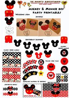 Mickey and Minnie Mouse DIY Party Printables striefler Turner! Mickey Disney, Mickey E Minie, Mickey Mouse Bday, Mickey Mouse Clubhouse Birthday, Mickey Mouse Parties, Mickey Party, Mickey Mouse Birthday, Mickey Mouse Party Favors, Elmo Party