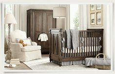Nursery light walls/chair with dark wood lovely color scheme @Paige Hereford Glover