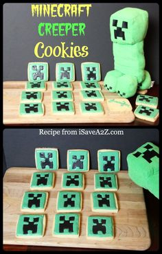 Easy Minecraft Cookies! Click for link to the tutorial to these cute looking cookies!