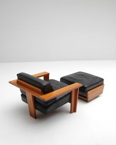 Anonymous; T-Back Lounge Chair and Ottoman, 1960.