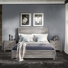 Montauk Queen Size Solid Wood Bed - Rustic Grey - Grain Wood Furniture - 1