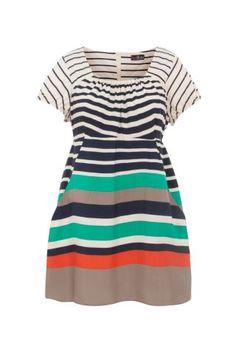 New Look Mobile   Lovedrobe Cream Stripe Tunic