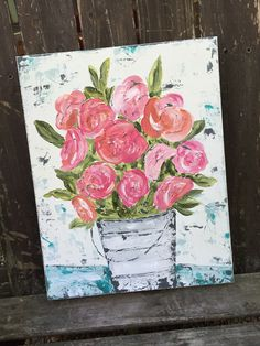 Bucket Floral Painting by Haley Bush