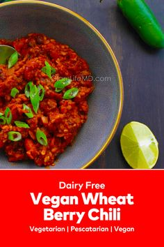 Vegan Wheat Berry Chili is easy delicious hearty and thick black bean chilli delicious lunch recipes perfect for the cold season! Best Lunch Recipes, Bean Chilli, Fajita Seasoning, Vegetarian Chili, Lunches And Dinners, Dairy Free, Berry, Delish, Easy Meals
