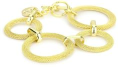 1AR by UnoAerre 18k Gold Plated Textured Woven Link Bracelet 1AR by UnoAerre. $125.00. 18KT Gold Plated woven ring bracelet. Clean with soft dry chemical free cloth only. Products are manufactured by Italy's renown gold craftsmen. Made in Italy. Special technology futher protects each piece from color fading