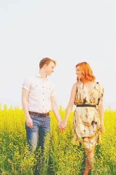 Couples Photography | Canola Fields | Summertime Love | Canadian | Engagement Photography Ideas | Happy | Cute