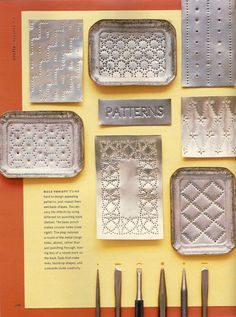 Martha Stewart Living Punched Tin Story November 2003 by Lauren Potter at… Tin Can Art, Tin Art, Soda Can Art, Aluminum Can Crafts, Metal Crafts, Aluminum Foil Crafts, Metal Embossing, Metal Stamping, Nail Stamping