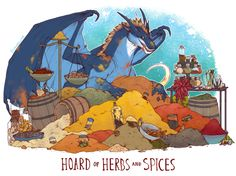 "iguanamouth: "" UNUSUAL HOARD commission for terry of their spice collecting oc - dont ask me how all the piles stay organized with a big dragon floppin on em all the time ok i dont know "" Fantasy Dragon, Dragon Art, Fantasy Art, Fantasy Comics, Magical Creatures, Fantasy Creatures, Cute Dragons, Monster, Illustrations"