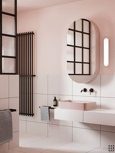 Eclectic bathroom with pink walls