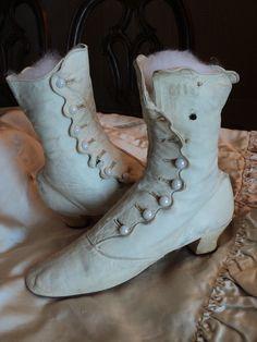 Victorian Wedding boots high milk glass buttons