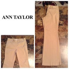 """Ann Taylor Cropped Khaki Ann Taylor Pants are made of 98% Cotton and 2% Spandex. Khaki. Cropped.  Size 4 Petite Original. 4Pocket Design. These pants are not new, they are used. Laying flat """"13.5. Length """"35.5. Inseam """"27. Rise """"8.5.  This item is Authentic and from a Smoke And Pet free home. All Offers through the offer button ONLY. I Will not negotiate Price in the comment section. Thank You😃 Ann Taylor Pants Ankle & Cropped"""
